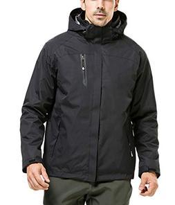 LANBAOSI Men's 3 in 1 Hooded Ski Jacket Fleece Liner Windpro