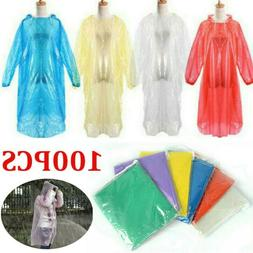100* Disposable Emergency  Waterproof Rain Coat Poncho Hikin