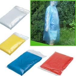 10PCS Disposable Adult Emergency Waterproof Poncho Hiking Ca