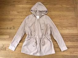 $118 Avec Les Filles Rain Coat Zipper Hoodie w/Drawstring -
