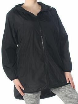 CALVIN KLEIN $139 Womens New 1072 Black Hooded Rain Coat 1X