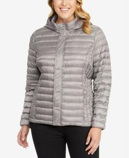 $185 32 DEGREES Womens GRAY DOWN HOODED PACKABLE PUFFER JACK