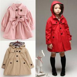 2-7 Year Kid Girl Hooded Long Trench Rain Coat Jacket Parka