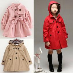 2-7 Year Kid Girl Hooded Long Trench Rain Coat Jacket Parka