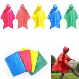 2 Emergency Rain Poncho Reusable Rain Hooded Rain Coat Outdo