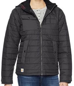 $200 Carhartt Women Black Amoret Warm Winter Hooded Zip Fron