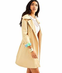 $298 NEW Lilly Pulitzer QYNN TRENCH Raincoat  COAT Gold Butt