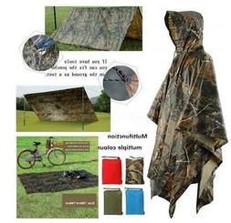 3 in1 Hooded Raincoat Cloth Long Rain Coat Poncho Camping Sh