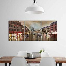 Philiphome 3 Piece Wall Art Painting Frameless rain in paris