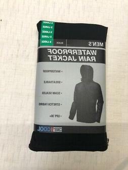 32 Degrees Men Packable Rain Jacket With Hood Waterproof Bla