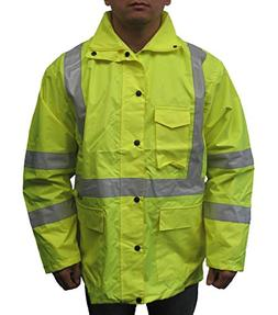 3C Products Men's Safety Rain Jacket Small Neon Green