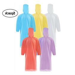 5x Disposable Adult Waterproof Rain Coat Emergency Poncho Ou