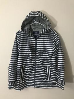 5990 stripe raincoat navy white stripe l