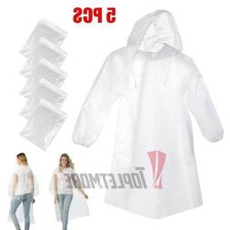 5x Disposable Adult Emergency Waterproof Rain Coat Poncho Ca