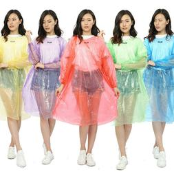 5x disposable adult rain coat poncho w
