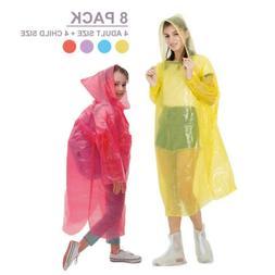 8x Disposable Adult Emergency Waterproof Rain Coat Poncho Hi