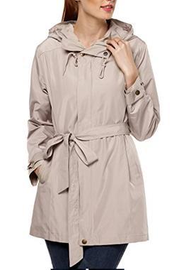 ANGVNS Women Front Zip Long Sleeve Hoodie Windcoat Trench Co