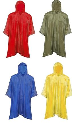 Adult Hooded Pullover Rain Coat Poncho Jacket w/ Side Snaps