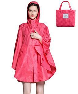 Aeman Lightweight Rain Poncho for Women - Hooded Waterproof
