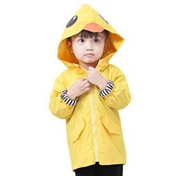 Auwer Unisex Kids Animal Raincoat Cute Cartoon Jacket Hooded