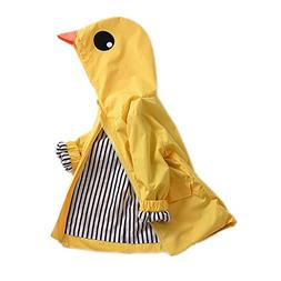 Birdfly Unisex Kids Animal Raincoat Cute Cartoon Jacket Hood