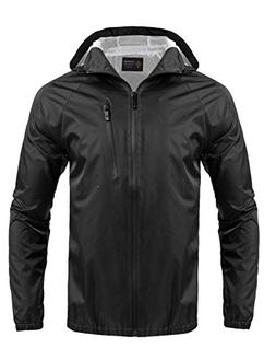 COOFANDY Men's Lightweight Waterproof Rain Jacket Packable O