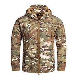 CRYSULLY Man Zipper Warm Coat Softshell Jacket Fleece Lining