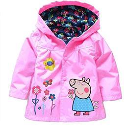 Cartoon Peppa Pig Flower Baby Girls Kids Rain Coat Jacket Co