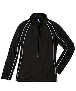 Charles River Apparel Girl's Warm Up Olympian Jacket, Black/