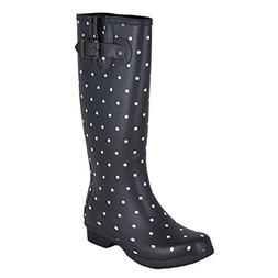 Chooka Women's Tall Memory Foam Rain Boot, Dot Blanc Black,