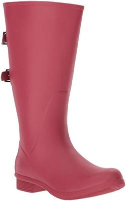 Chooka Women's Wide Calf Memory Foam Rain Boot, Raspberry, 8