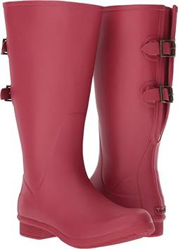Chooka Women's Wide Calf Memory Foam Rain Boot, Raspberry, 6