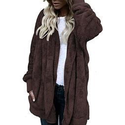 Clearance Sale! Women Hooded Long Wool Coat Jacket Hoodies P