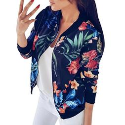 Clearance Sale! Women Ladies Printing Long Sleeve Tops Zippe