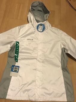 Columbia Women's Waterproof Rain Jacket White/Grey Extra Lar