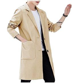 Coolred-Men Big Tall Lapel Pocket Button Trench Coat Jacket