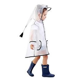 Doubmall Transparent Raincoat for Kids Hooded Rain Jacket Ag