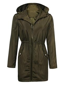 ELESOL Women Waterproof Raincoat Rainwear Rain Jacket Army G