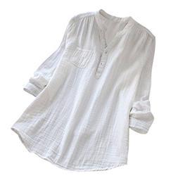 FEITONG Women Stand Collar Long Sleeve Cotton Loose Soft Tun