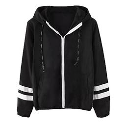 FEITONG Women Stitching Hit Color Thin Hooded Zipper Pockets