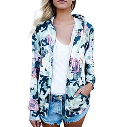 FEITONG Womens Floral Print Top Coat Outwear Sweatshirt Hood