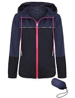FISOUL Women's Waterproof Raincoat Active Outdoor Hooded Rai