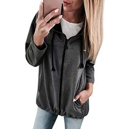 Full Zip Hoodie, Clearance! Duseedik Fashion Women Zipper Lo