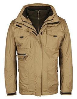Smeiling Men's 2-in-1 Hiking Warm Fleece Ski Jacket Hooded R