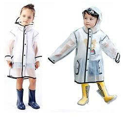 YOUNGER TREE Kids Clear Raincoat Durable Translucent Rain Cape Portable Hooded Poncho for 1-10T Little Baby Boys Girls