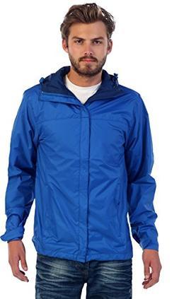 Gioberti Men's Waterproof Rain Jacket, Royal Blue, M
