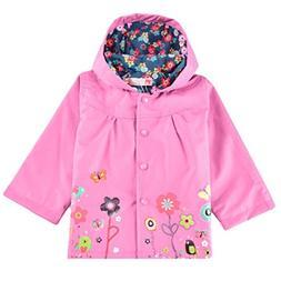 Goodfans Cute Baby Girl Rain Jacket Flower Print Hooded Anor