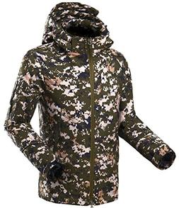 Jaycargogo Men's Camo Hooded Windproof Rain Jacket Outerwear