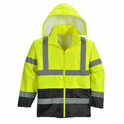 Hi-Vis Rain Jacket Stow Away Hood, ANSI Class 3, Yellow/Blac