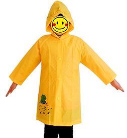 Hilarocky Uni-sex Children Cute Hooded Raincoat Frog Yellow